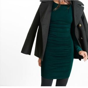 EXPRESS Long Sleeve Ruched Green Sweater Dress